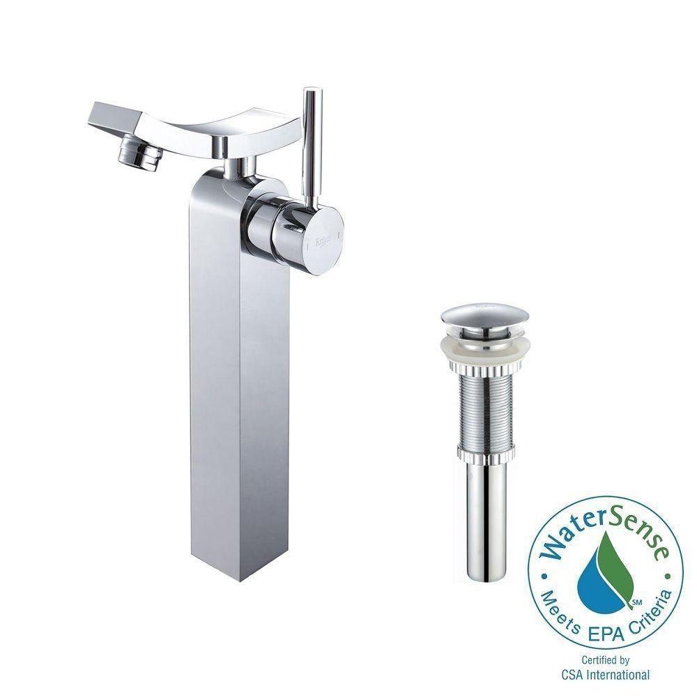 Robinet de vasque Unicus à levier simple avec drain escamotable, chrome