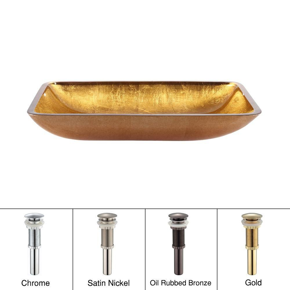 Rectangular Glass Vessel Sink in Golden Pearl with Drain in Gold