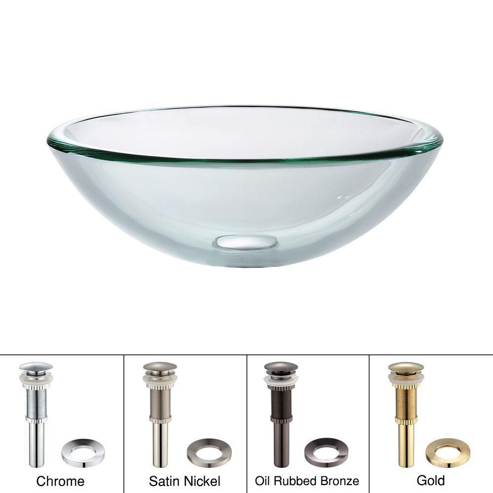 Clear Glass Vessel Sink with Drain in Satin Nickel