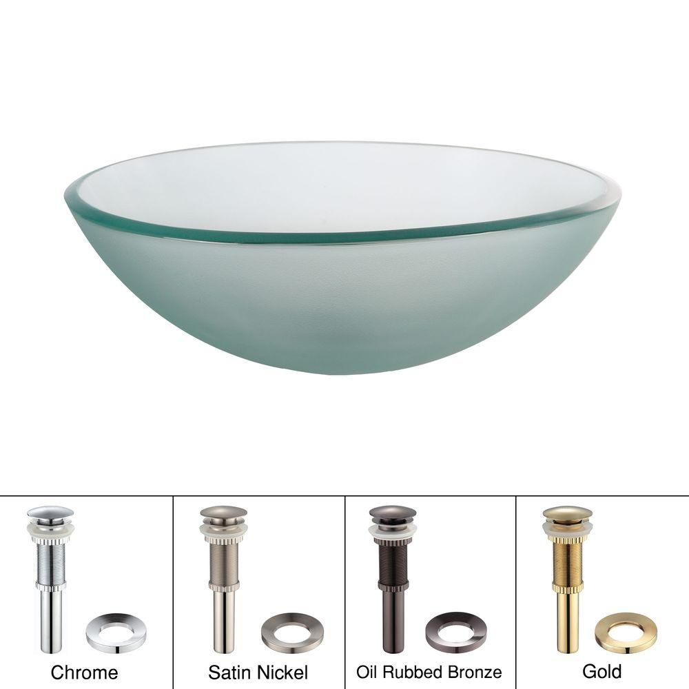 Frosted Glass Vessel Sink with Drain in Satin Nickel
