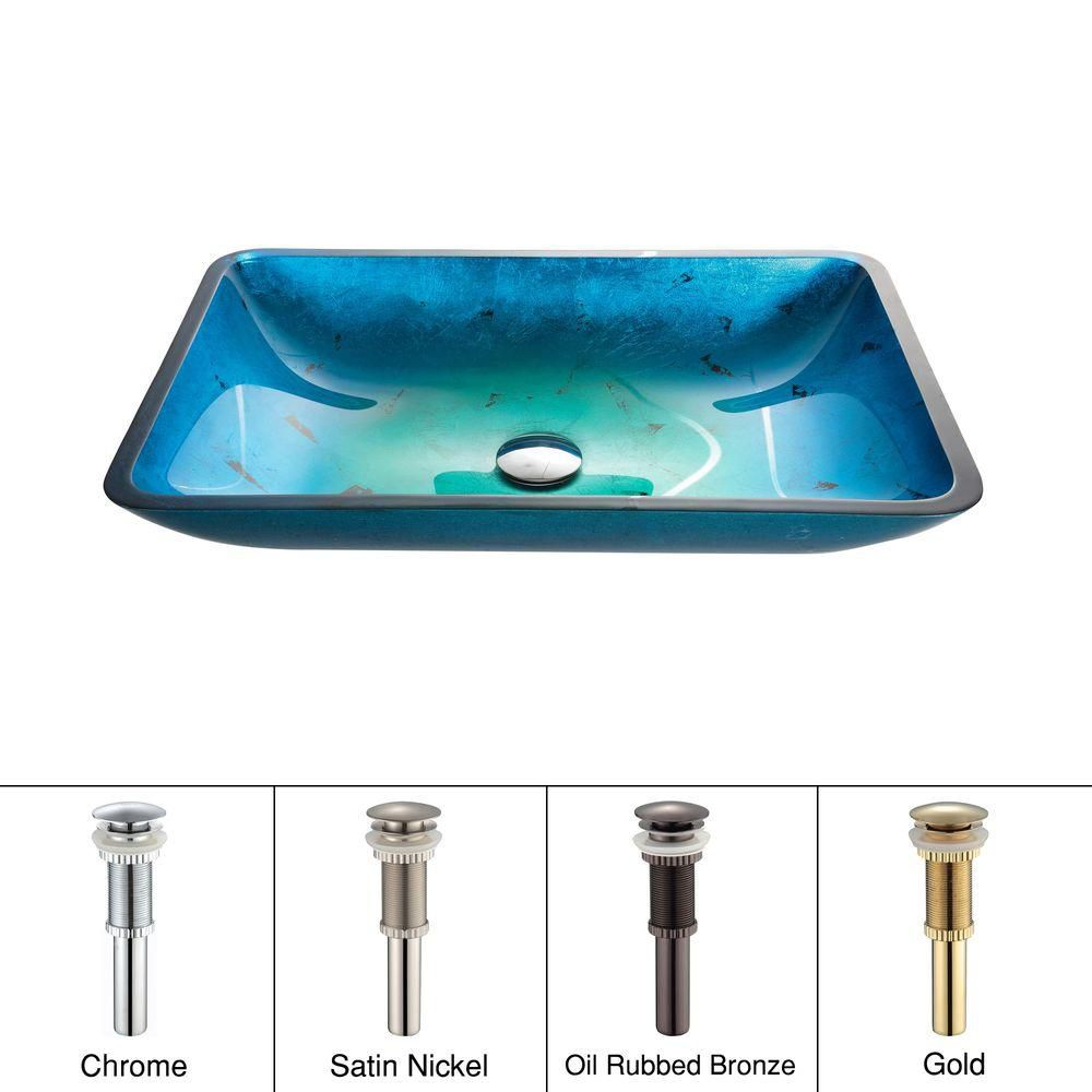 Irruption Rectangular Glass Vessel Sink in Blue with PU Gold