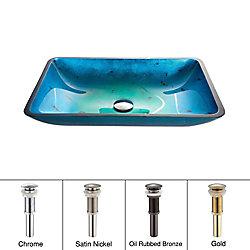 Kraus Lavabo-vasque rectangulaire en verre bleu Irruption avec drain escamotable, chrome