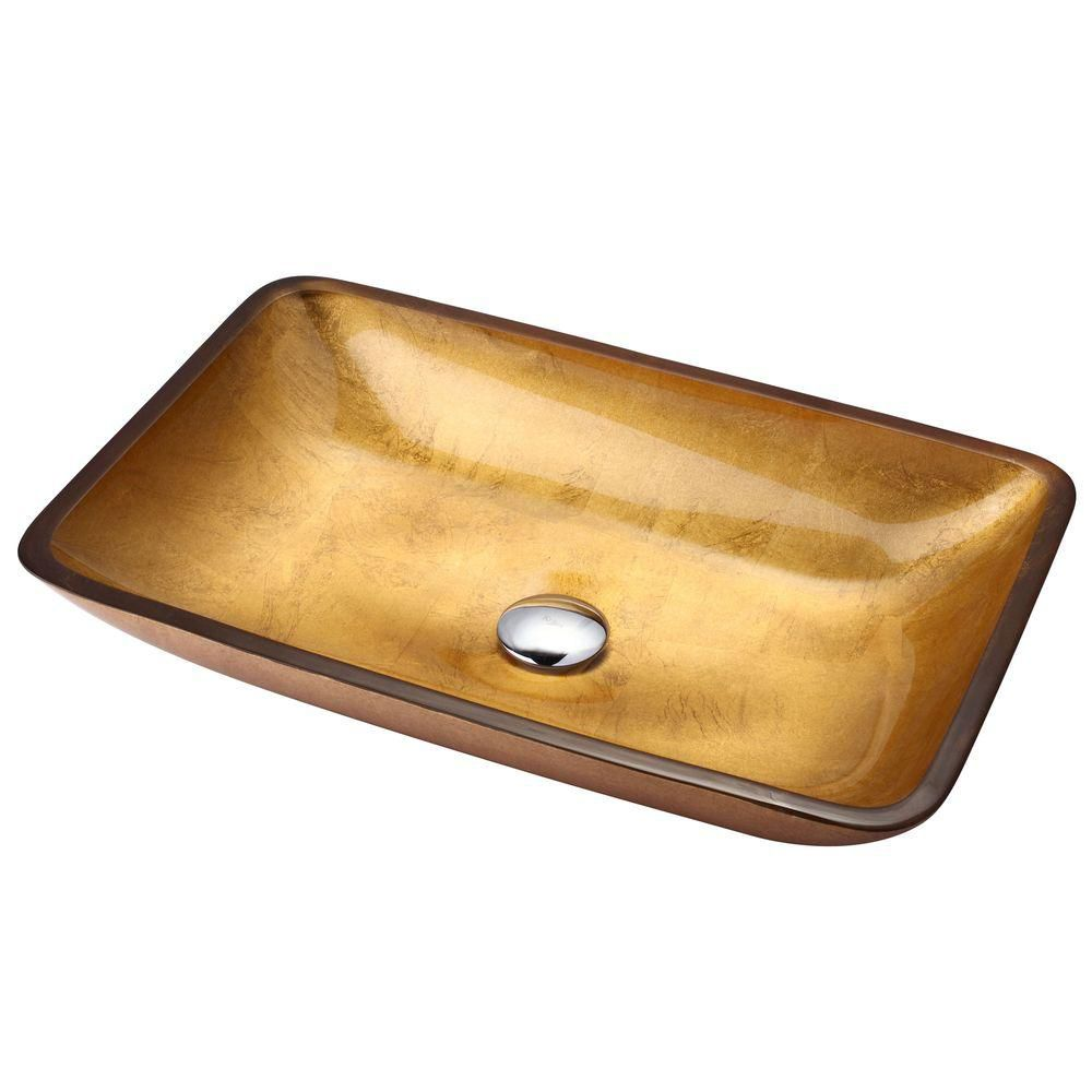 Rectangular Glass Vessel Sink in Golden Pearl