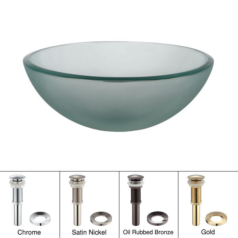 14-inch Frosted Glass Vessel Sink with Drain in Satin Nickel