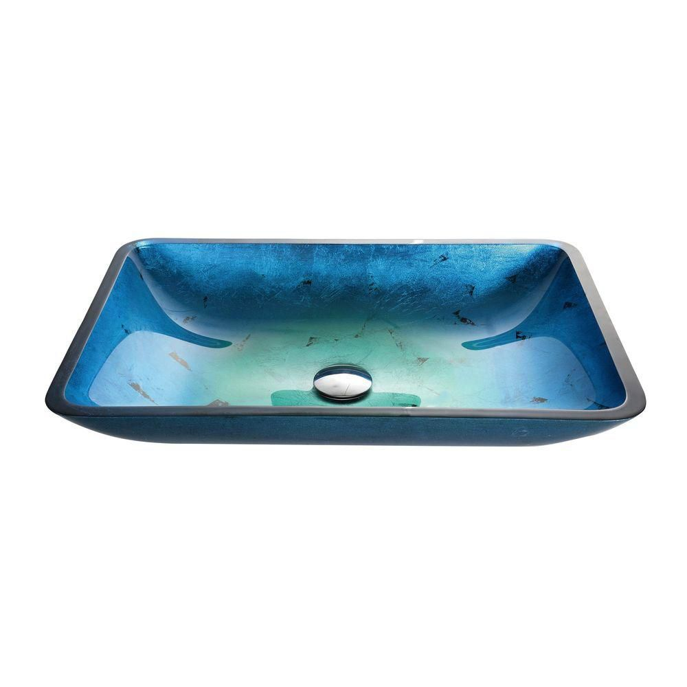 Lavabo-vasque rectangulaire en verre bleu Irruption