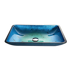 Irruption Rectangular Glass Vessel Sink in Blue