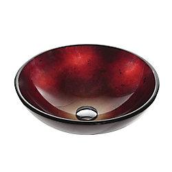 Kraus Lavabo-vasque en verre rouge Irruption
