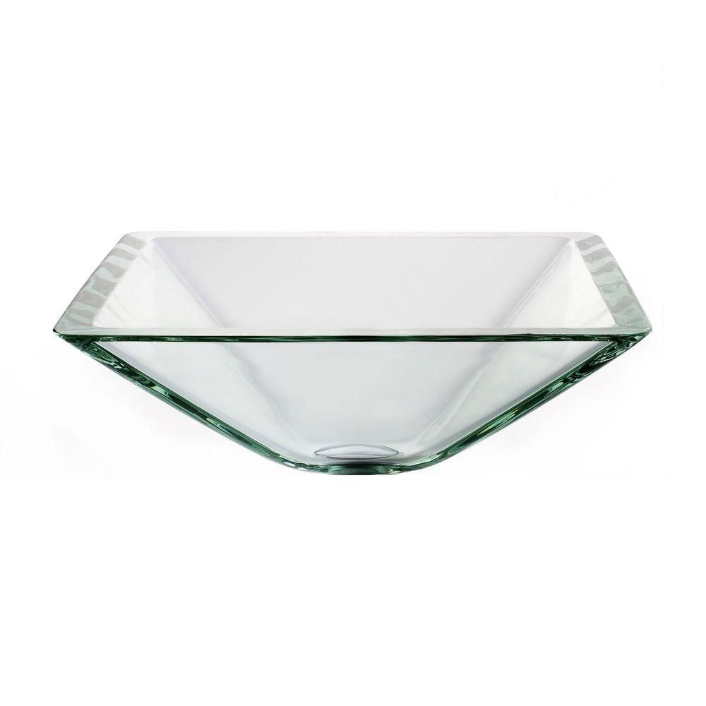 Lavabo-vasque carré en verre transparent aigue-marine