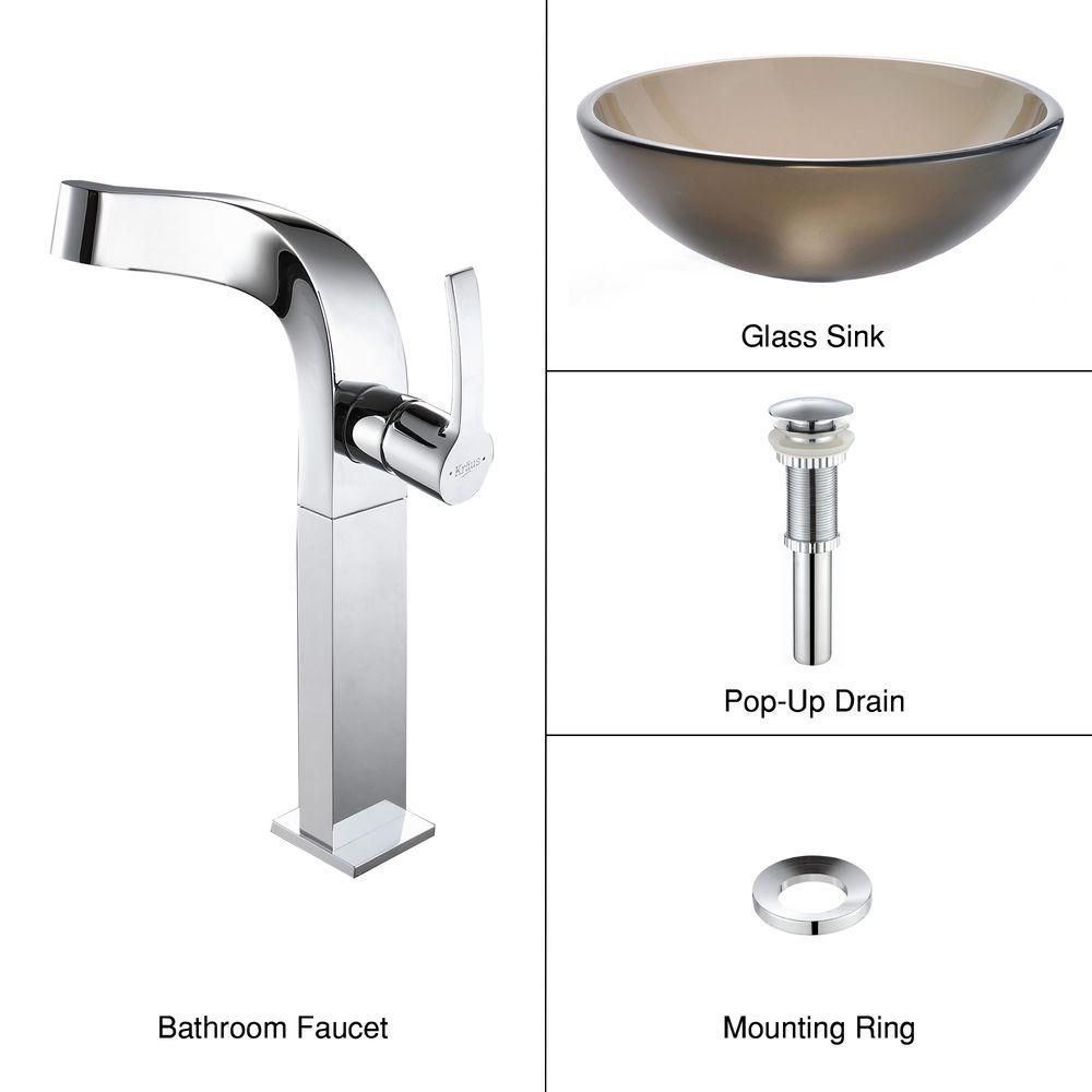 Frosted Glass Vessel Sink in Brown with Typhon Faucet in Chrome
