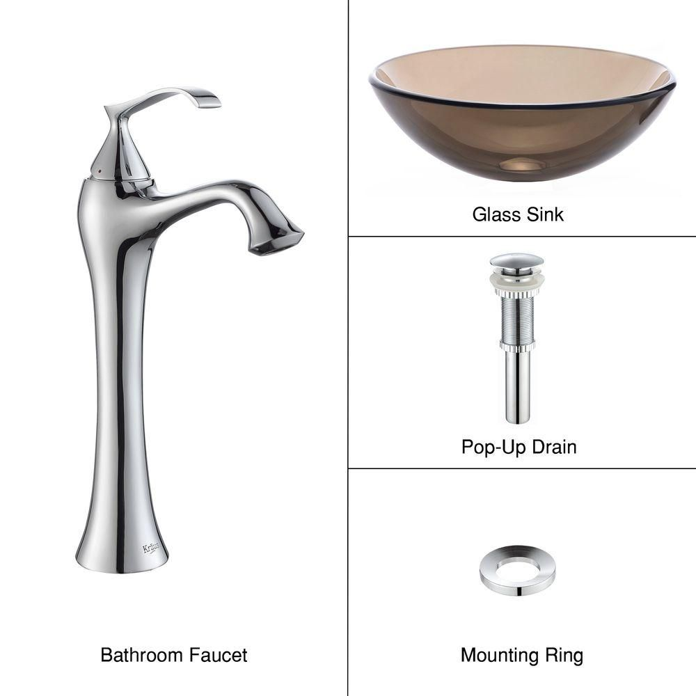 Clear Glass Vessel Sink in Brown with Ventus Faucet in Chrome