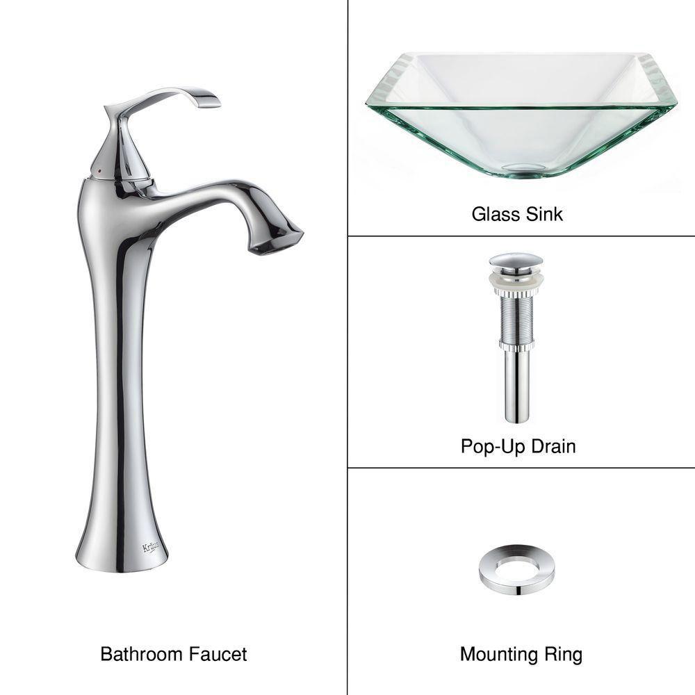 Lavabo-vasque en verre aigue-marine transparent et robinet Ventus, chrome