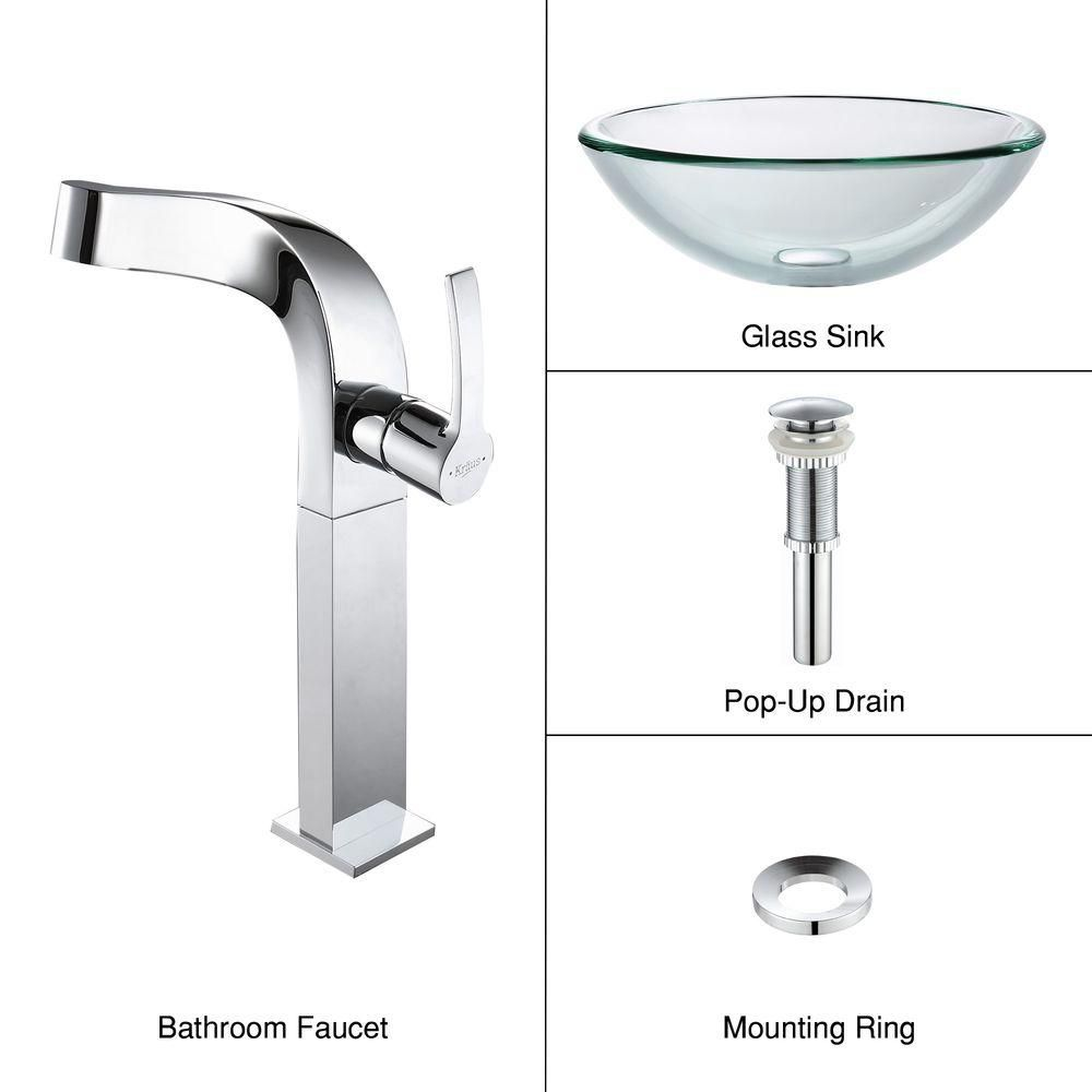 Clear Glass Vessel Sink with Typhon Faucet in Chrome