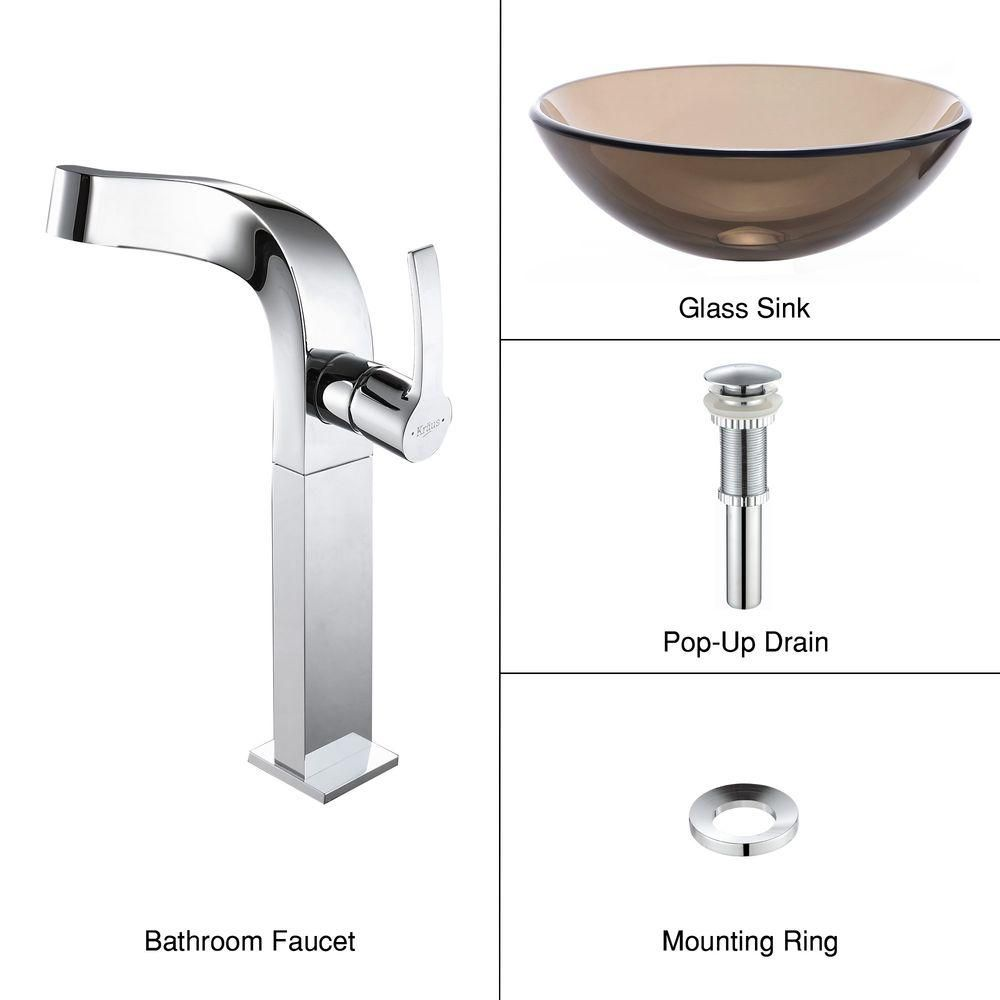 Clear Glass Vessel Sink in Brown with Typhon Faucet in Chrome