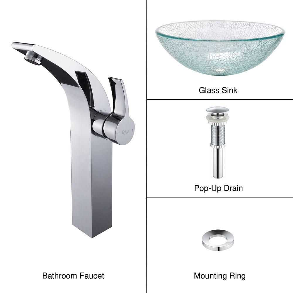 Glass Vessel Sink in Mosaic with Illusio Faucet in Chrome