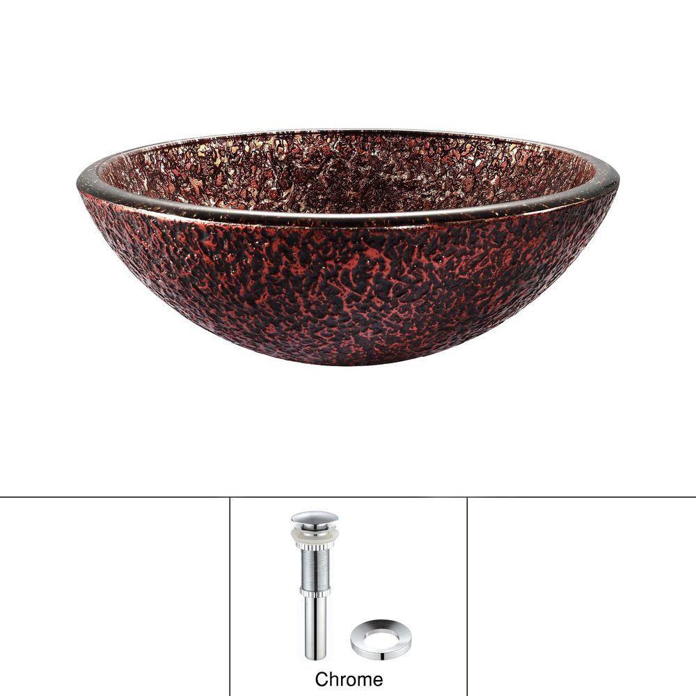 Lavabo-vasque en verre Venus avec drain escamotable et anneau de montage, chrome