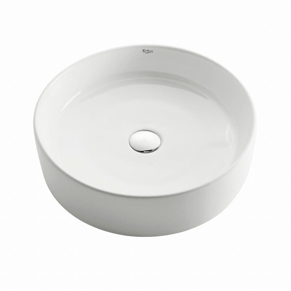 Round Ceramic Sink in White