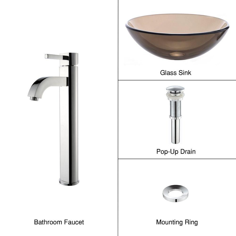 Clear Glass Vessel Sink in Brown with Ramus Faucet in Chrome