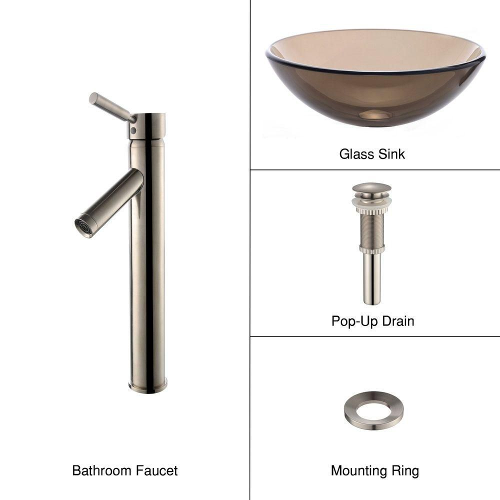 Clear Glass Vessel Sink in Brown with Sheven Faucet in Satin Nickel