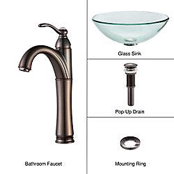 Kraus Lavabo-vasque en verre transparent et robinet Riviera, bronze huilé