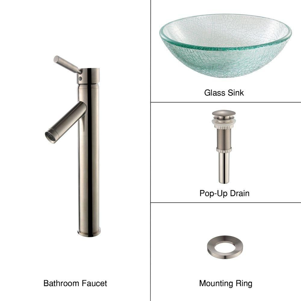 Glass Vessel Sink in Mosaic with Sheven Faucet in Satin Nickel
