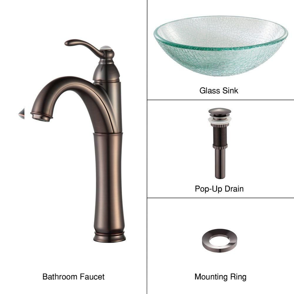Glass Vessel Sink in Mosaic with Riviera Faucet in Oil-Rubbed Bronze