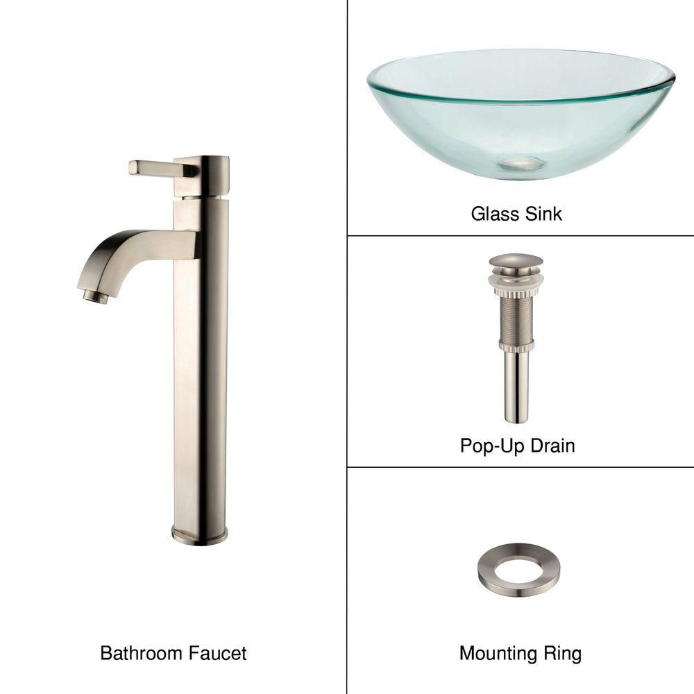 Clear Glass Vessel Sink with Ramus Faucet in Satin Nickel