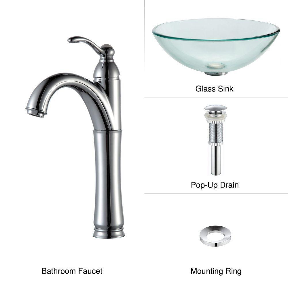 Kraus lavabo vasque en verre transparent et robinet for Robinet salle de bain home depot