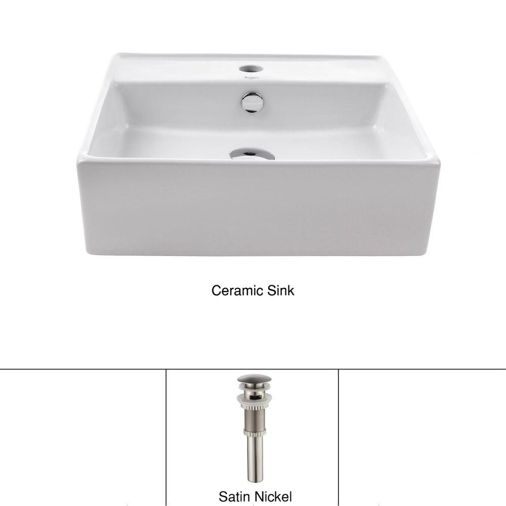 White Square Ceramic Sink and Pop Up Drain with Overflow Satin Nickel KCV-150-SN in Canada