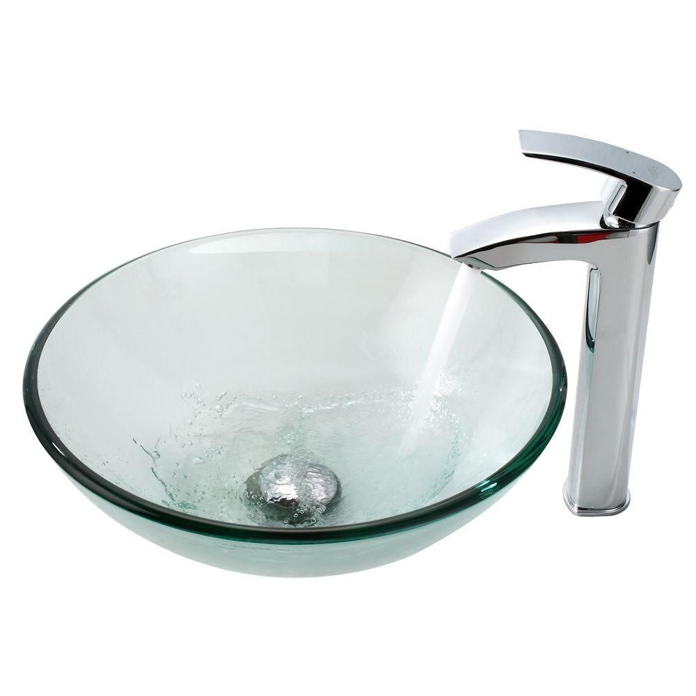 Clear Glass Vessel Sink with Visio Faucet in Chrome