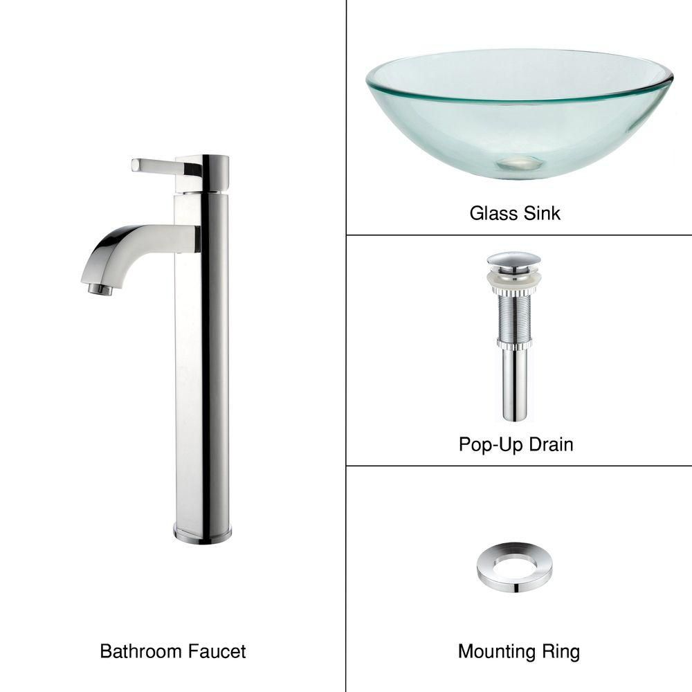 Clear Glass Vessel Sink with Ramus Faucet in Chrome