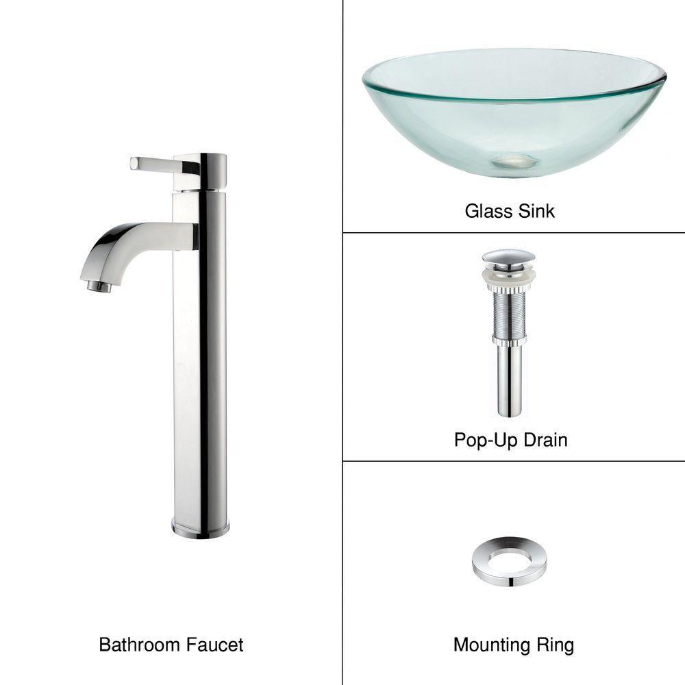 Kraus Clear 16.50-inch x 12.50-inch x 16.50-inch 1-Hole Circular Glass Bathroom Sink with Ramus Faucet