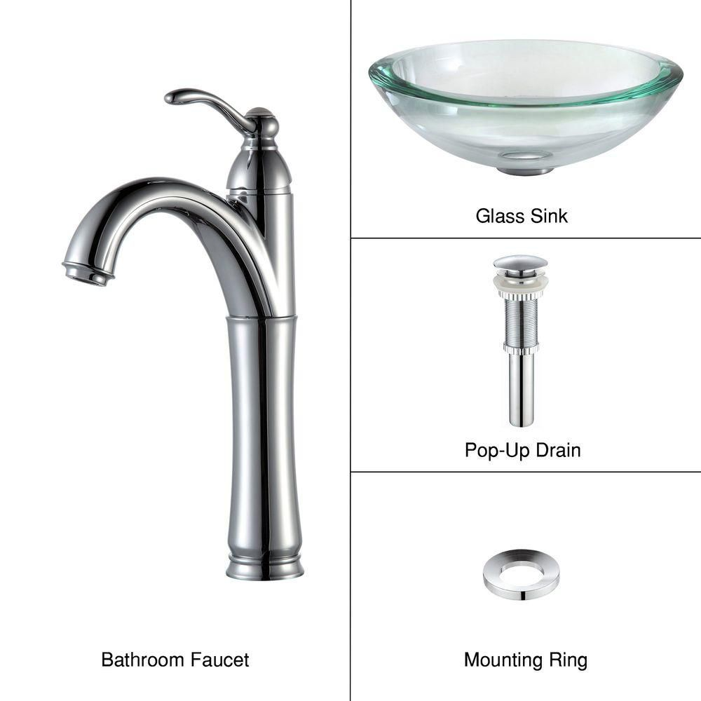 Clear Glass Vessel Sink with Riviera Faucet in Chrome