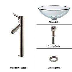 Kraus Lavabo-vasque en verre transparent de 19 mm d'épaisseur et robinet Sheven, nickel satiné