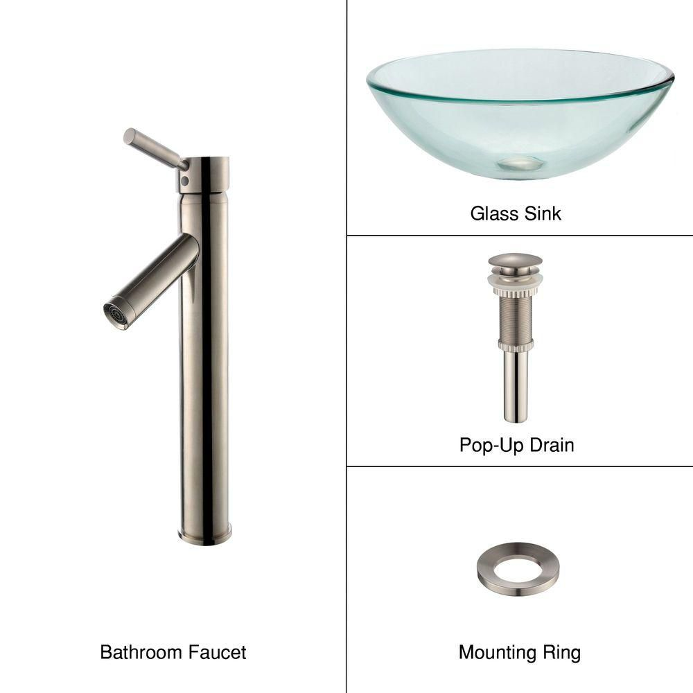 Clear Glass Vessel Sink with Sheven Faucet in Satin Nickel