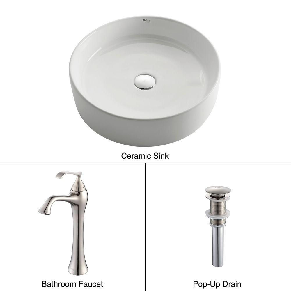 Round Ceramic Sink in White with Ventus Faucet in Brushed Nickel