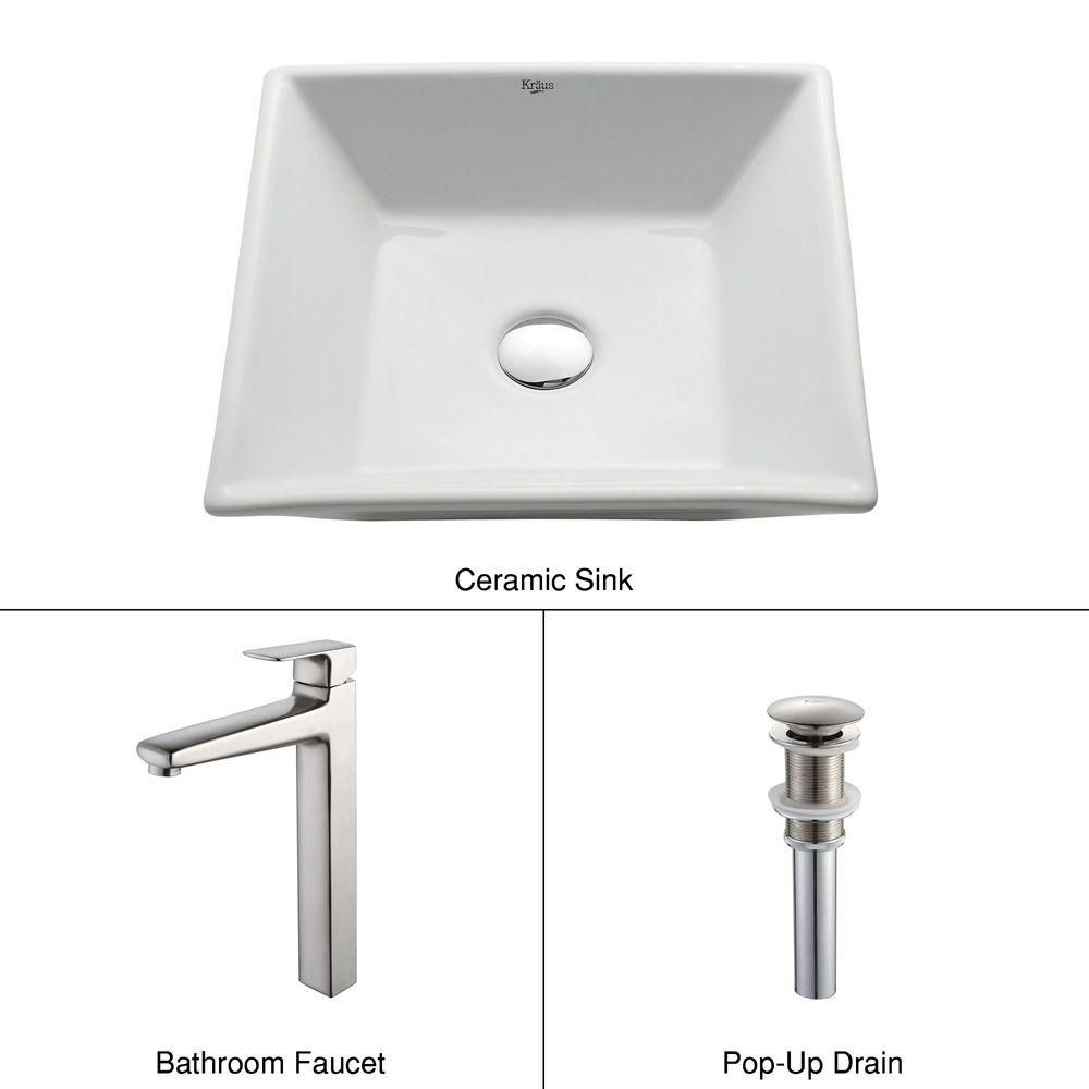 Square Ceramic Sink in White with Virtus Faucet in Brushed Nickel