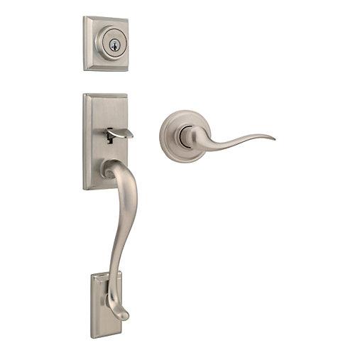 Hawthorne Satin Nickel Interior Door Handle Set with Toluca Lever