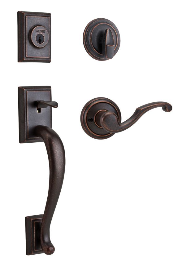 Pemberly Rustic Bronze Handle Set with Maya Interior Lever