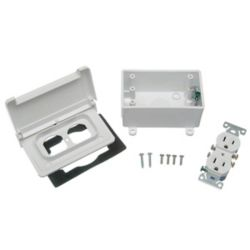 Thomas & Betts Outdoor Weatherproof 15A Duplex Receptable PVC Horizontal Kit  White
