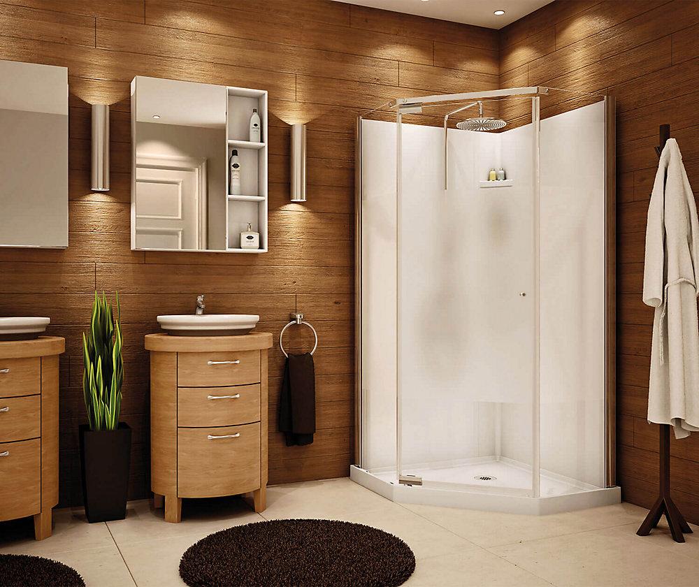 36-inch x 36-inch Lobelia 6mm Frameless Neo-Angle Shower Stall Kit