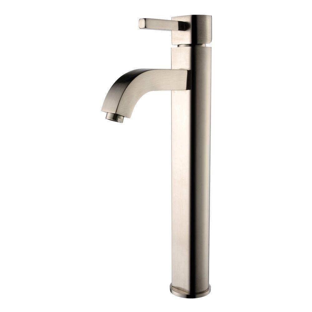 Kraus Rainfall Single Hole 1-Handle High Arc Bathroom Faucet in Satin Nickel with Lever Handle