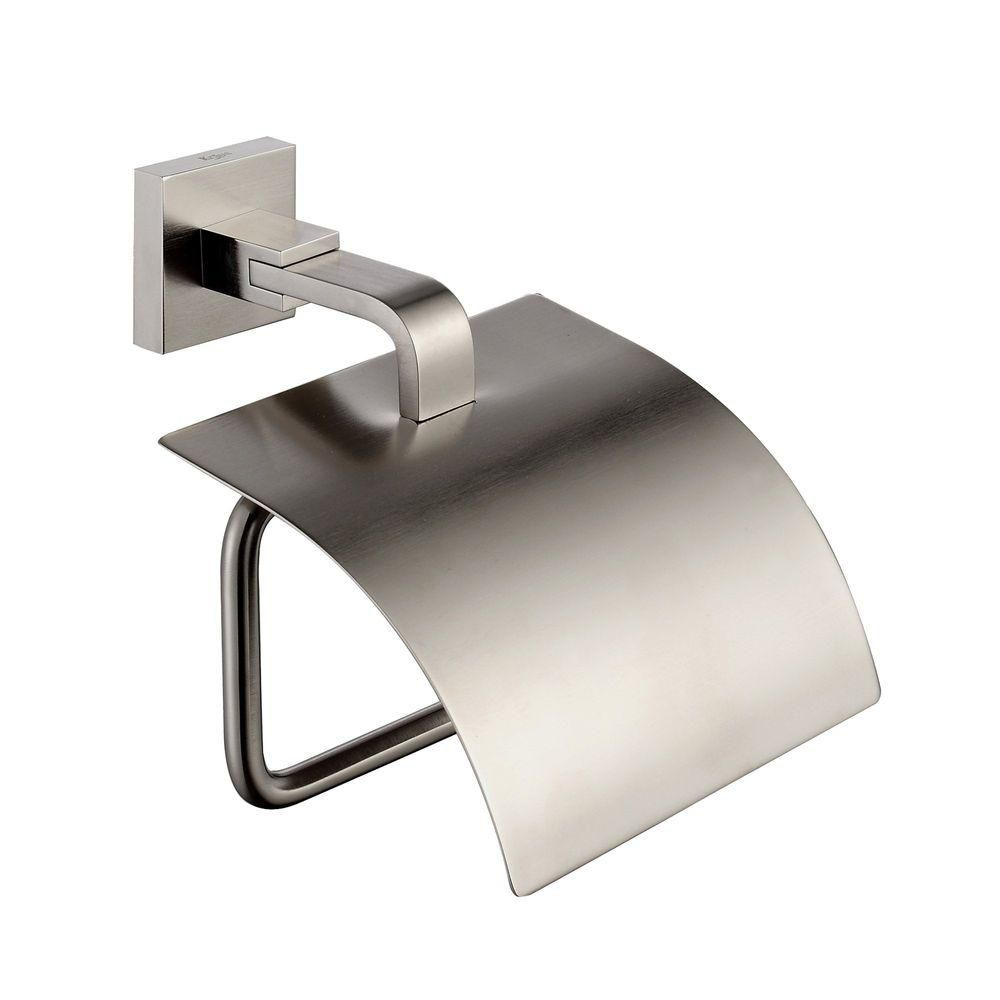 Kraus aura bathroom accessories tissue holder with cover brushed nickel the home depot canada - Tissue holder bathroom ...