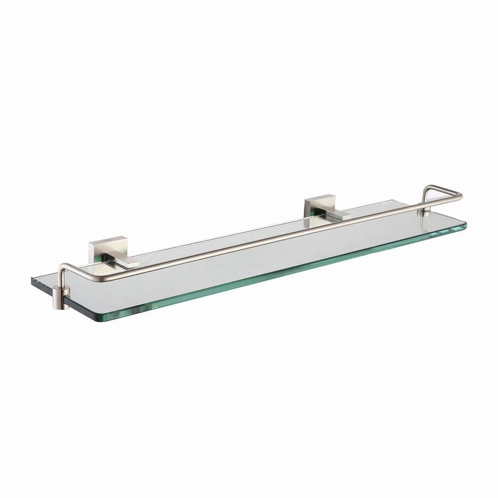 Aura Bathroom Accessories - Shelf with Railing Brushed Nickel