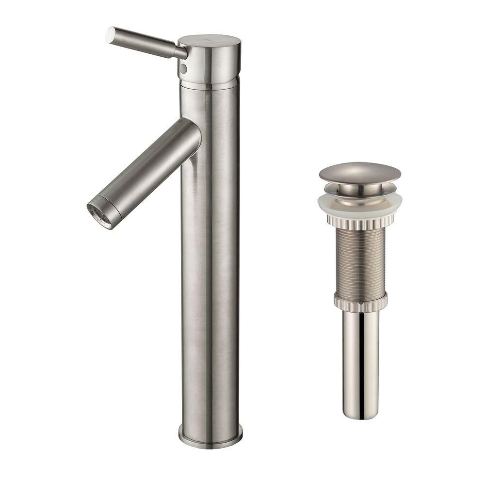 Robinet de vasque Sheven à levier simple avec drain escamotable assorti, nickel satiné
