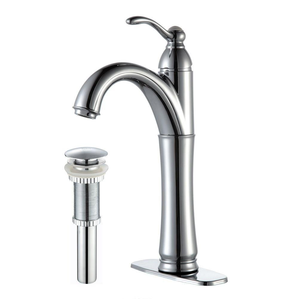Riviera Single-Lever Vessel Bathroom Faucet with Matching Pop-Up Drain in Chrome Finish