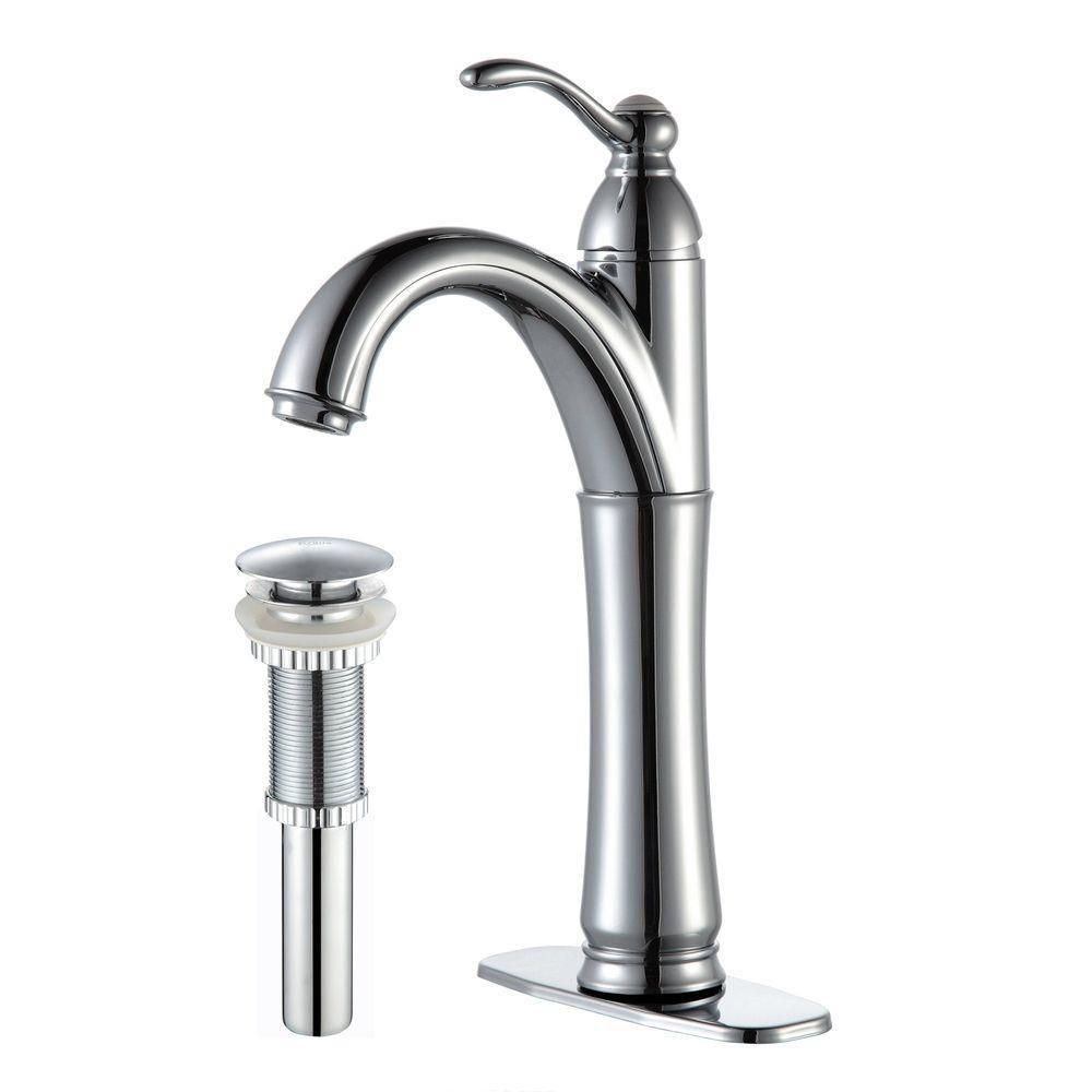 Robinet de vasque Riviera à levier simple avec drain escamotable assorti, chrome