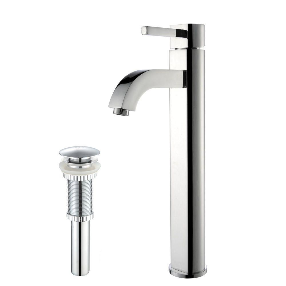 Ramus Single-Lever Vessel Bathroom Faucet with Matching Pop-Up Drain in Chrome Finish