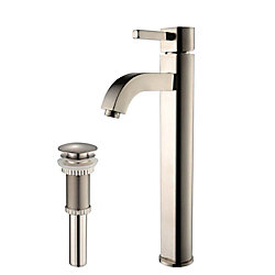 Kraus Ramus Single Hole Single-Handle Vessel Bathroom Faucet with Matching Pop Up Drain in Satin Nickel