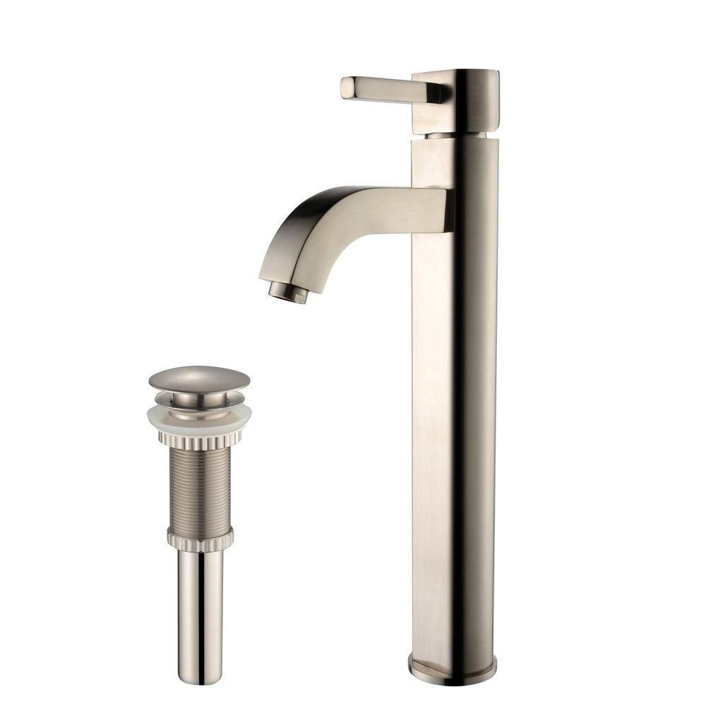 Ramus Single-Lever Vessel Bathroom Faucet with Matching Pop-Up Drain in Satin Nickel Finish