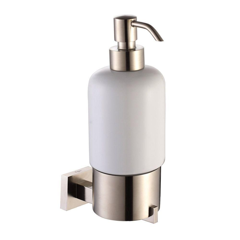 Aura Bathroom Accessories - Wall-Mounted Ceramic Lotion Dispenser Brushed Nickel